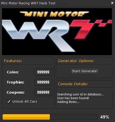 Mini motor racing wrt event code