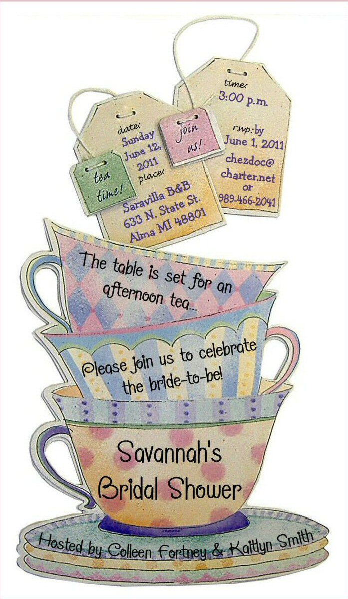 baby shower tea party invites | Invitations 12 PERSONALIZED. Birthday, Baby or Bridal Shower Tea Party ...