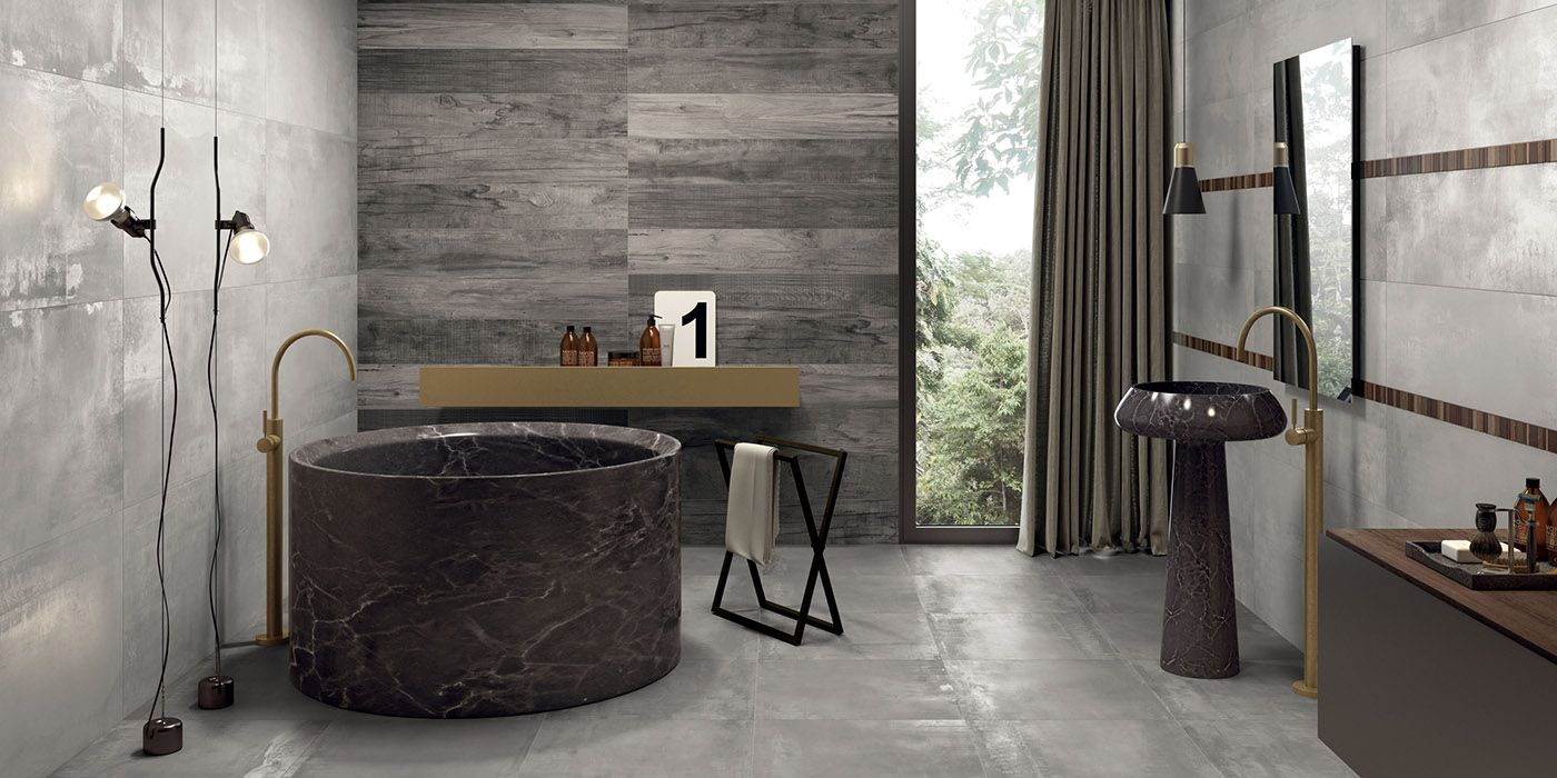 Affiche Salle De Bain Humoristique ~ carrelage de salle de bain aspect b ton gris et bois intramuros