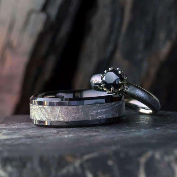 Black Diamond Meteorite Wedding Ring Set Lotus Engagement Meteorite Wedding Rings Black Wedding Rings Lotus Engagement Ring