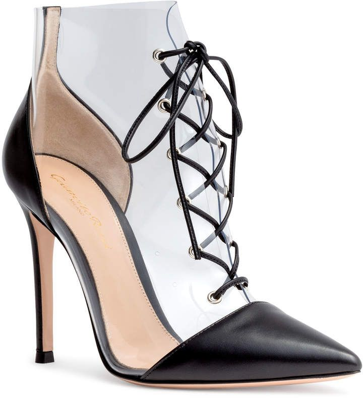 Gianvito Rossi Black and transparant lace-up booties  4a70702cbceb