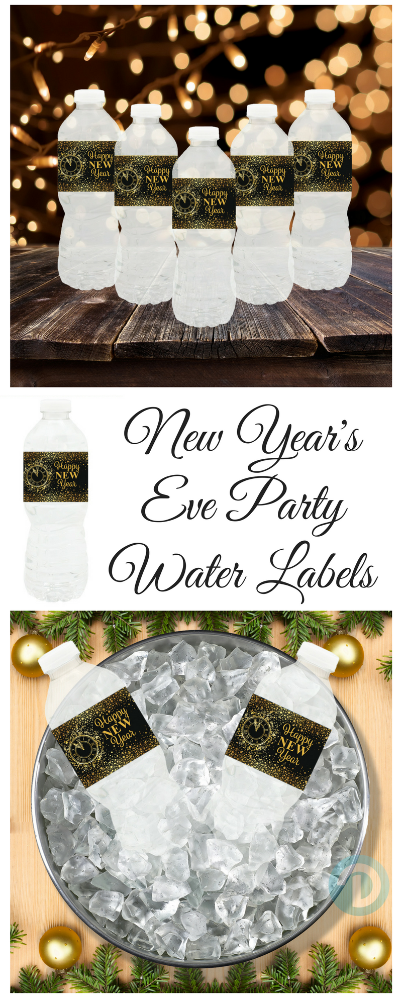 Black and Gold New Year\'s Eve Party Water Bottle Labels (Set of 24 ...