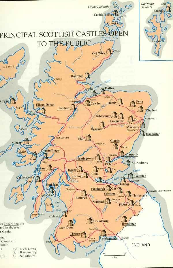Map of Scottish Castles: | Scotland | Pinterest | Scotland travel