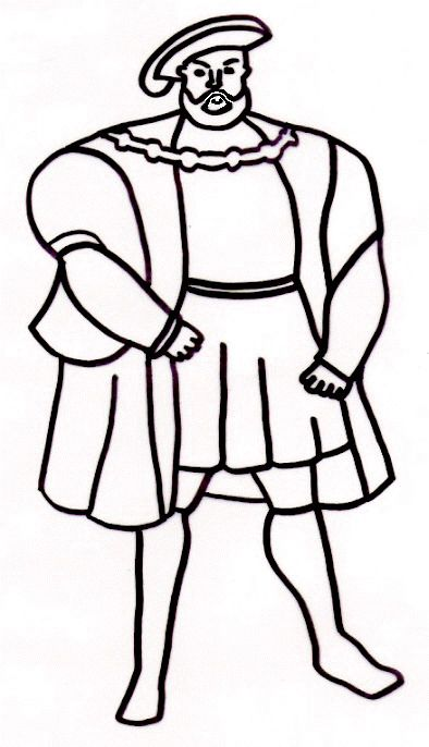 A Coloring Page But Nice Simple Outline For Embroidery Too Colonial AmericaHenry ViiiYear