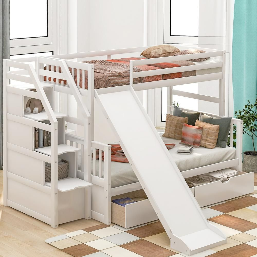 Harper & Bright Designs White Twin Over Full Bunk Bed with