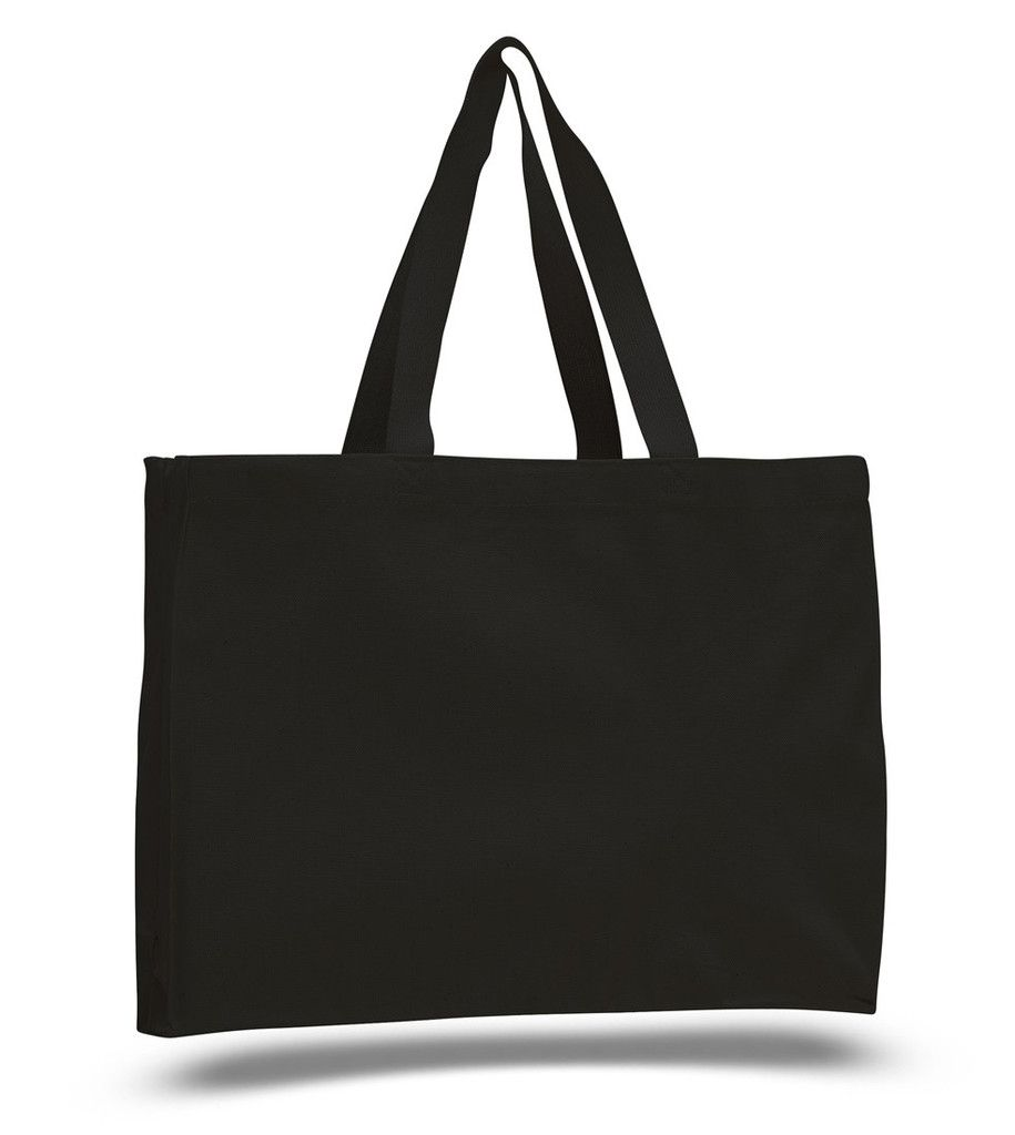 """This medium sized tote bag is ideal for grocery or gift shopping, or even traveling due to its strong heavy canvas and full side and bottom gussets. The stress points are reinforced so your cargo won't end up on the floor and will keep your bag last years of usage. Shop with confidence at ToteBagFactory.com Product Description: Heavy Canvas, web handles, full side and bottom gussets. Reinforced at stress points. Size: 15""""W x 12""""H x 4""""D  20"""" Handles Imprint: 10""""W x 8""""H Shop with…"""