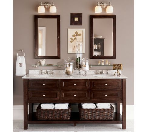 Timeless Carrara Marble And Dark Wood Vanity, Simple But Elegant