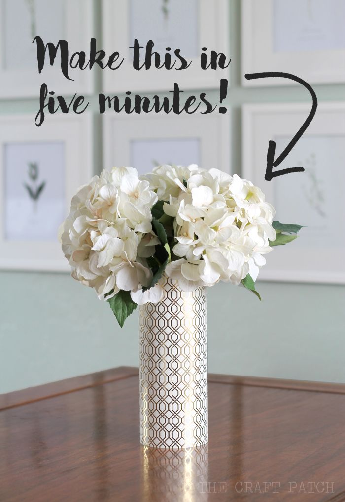 Diy Geometric Metallic Vase The Craft Patch Party Centerpieces
