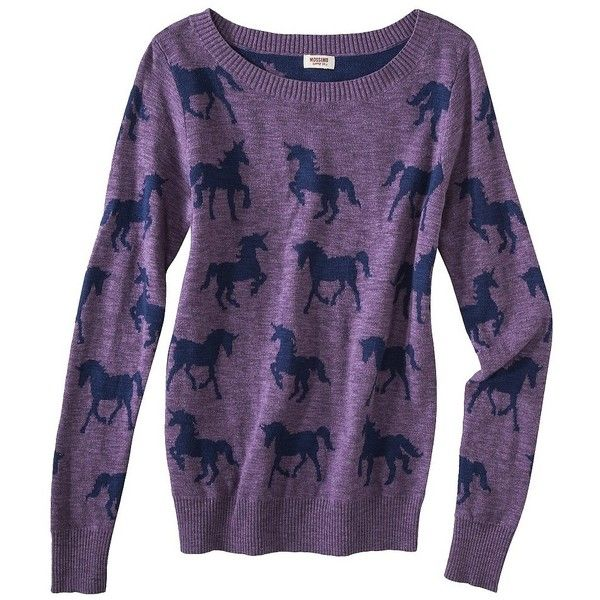 Mossimo Supply Co. Juniors Long Sleeve Unicorn Sweater - Purple ...