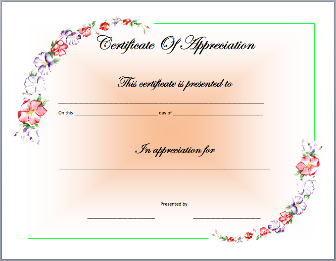 Recognition Certificate Template  Template