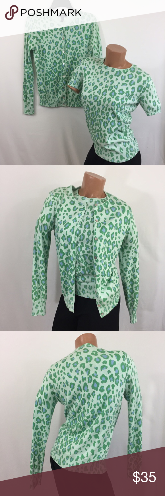 Blue Green Leopard Print Twin Set Cardigan Sweater LANDS' END Twin ...