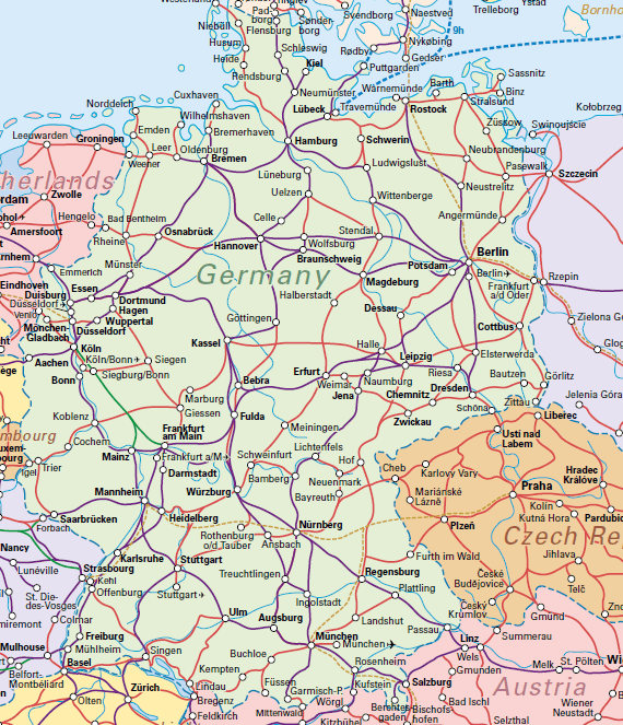 german rail map map of germany showing the main train lines in germany travel