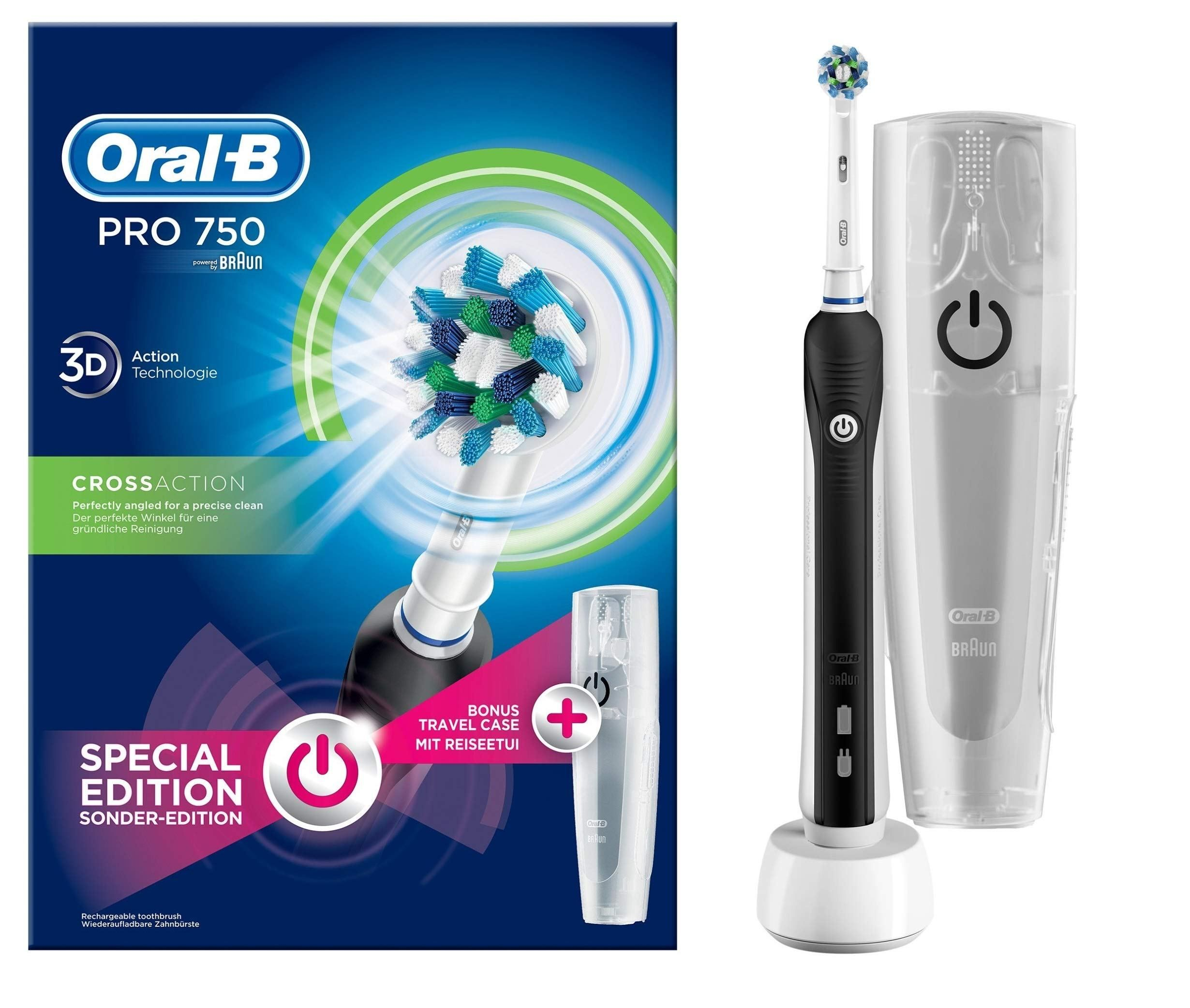 Oral B Pro 750 Crossaction Spazzolino Elettrico Ricaricabile Bonus Pack Il Movimento Dinamico Aiuta A Ottenere Oral B Rechargeable Toothbrush Brushing Teeth