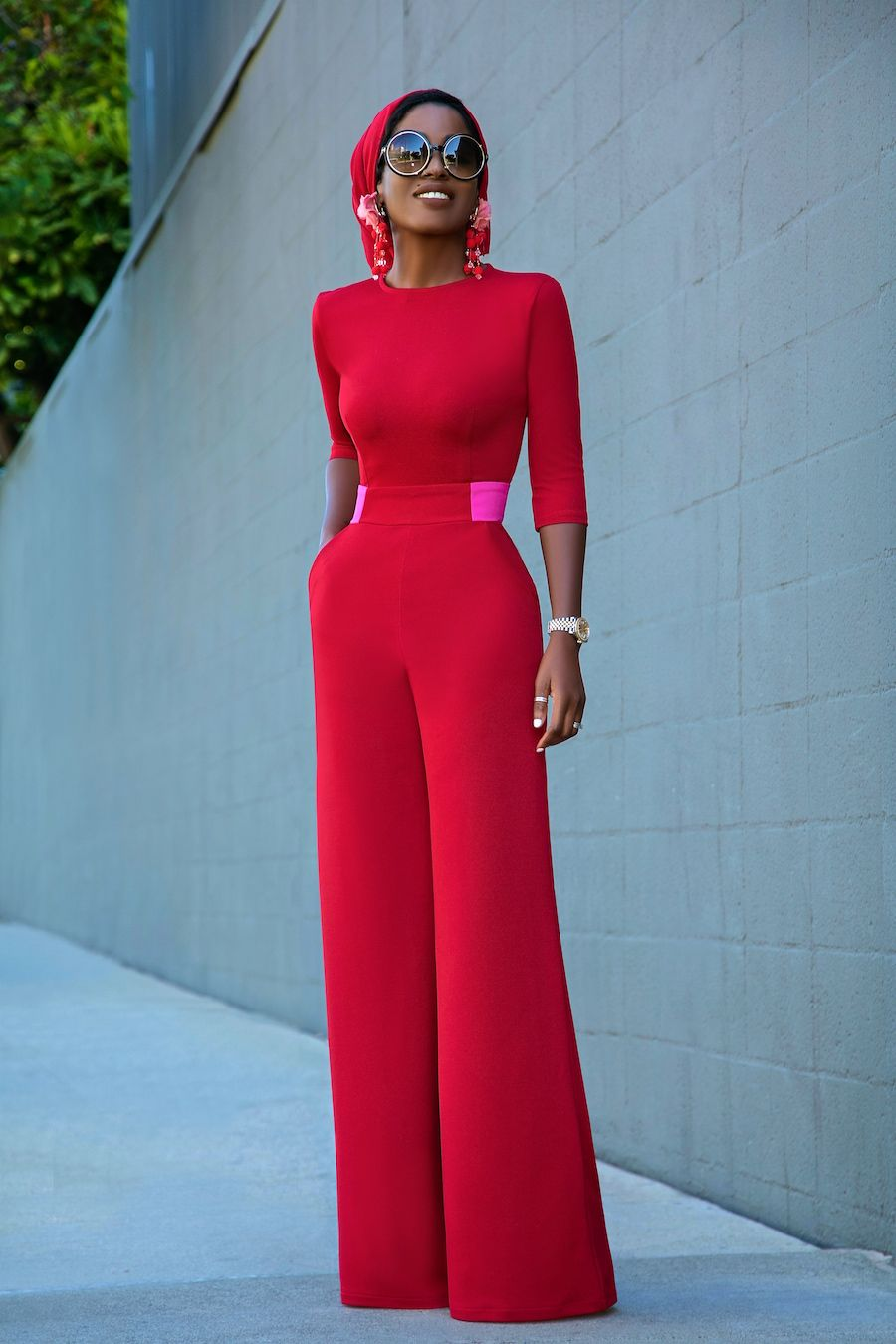 Photo of Contrast Waist Jumpsuit + Custom Head Wrap