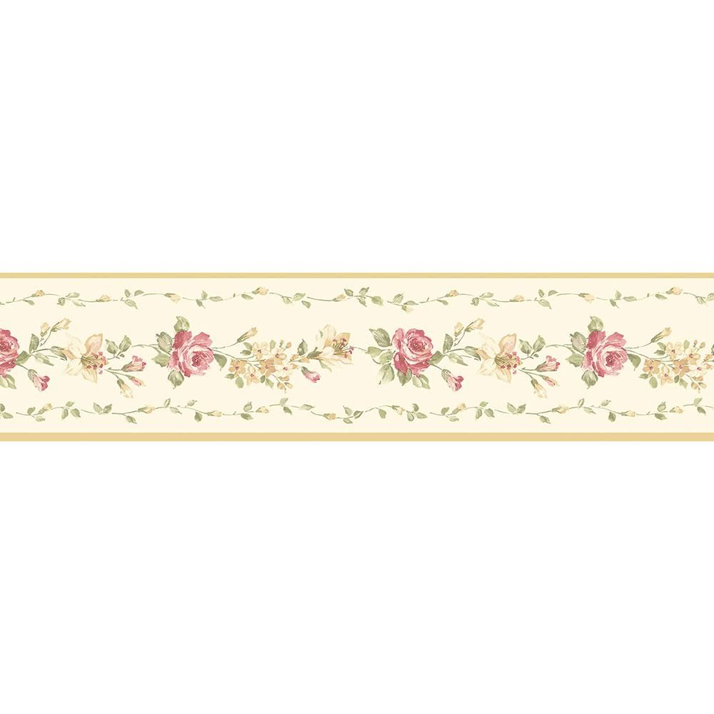 Red Rose Wallpaper Border, Red/Ivory/Yellow/Green Rose
