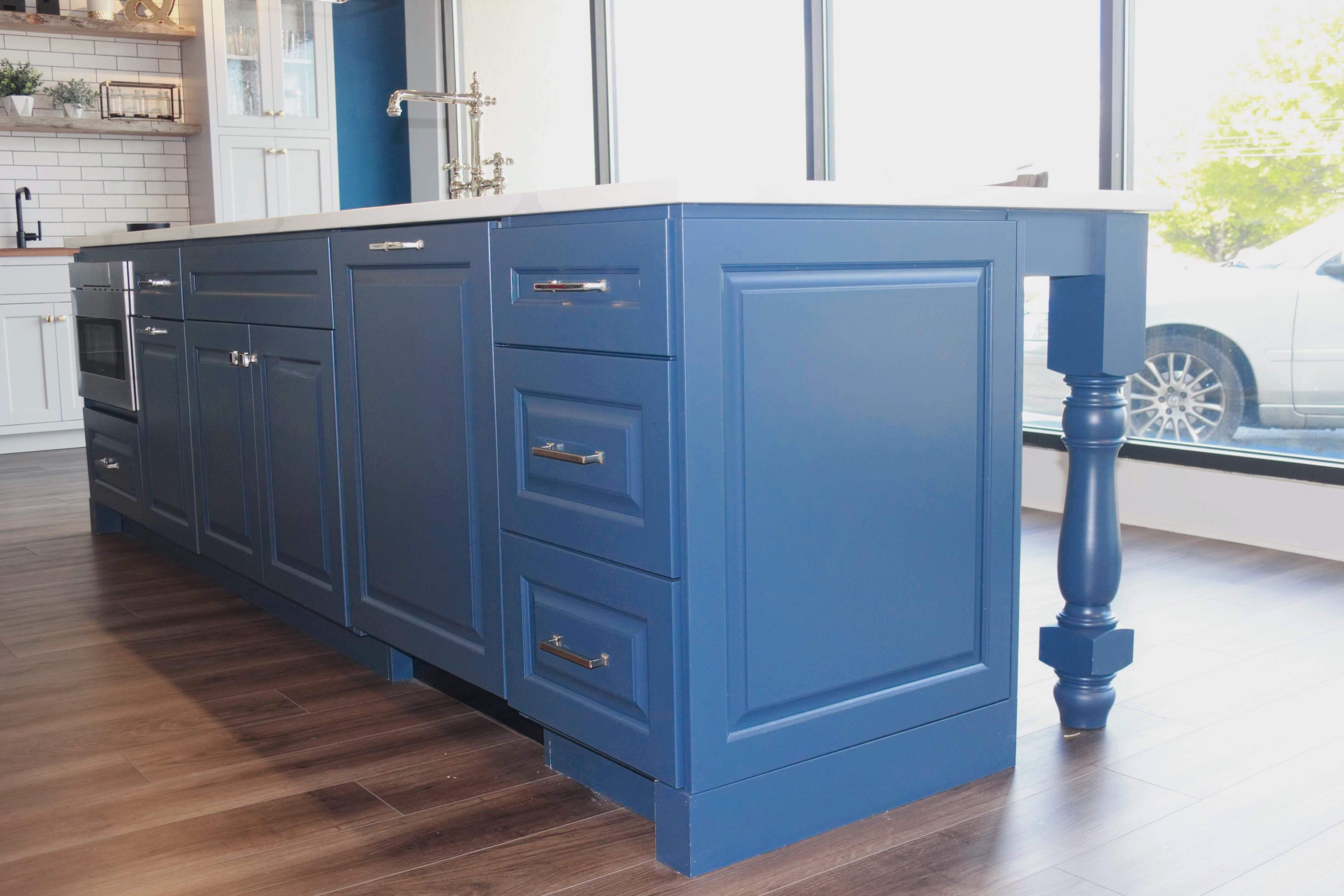 Blue Kitchen Island Vassar House Series, Charleston Door