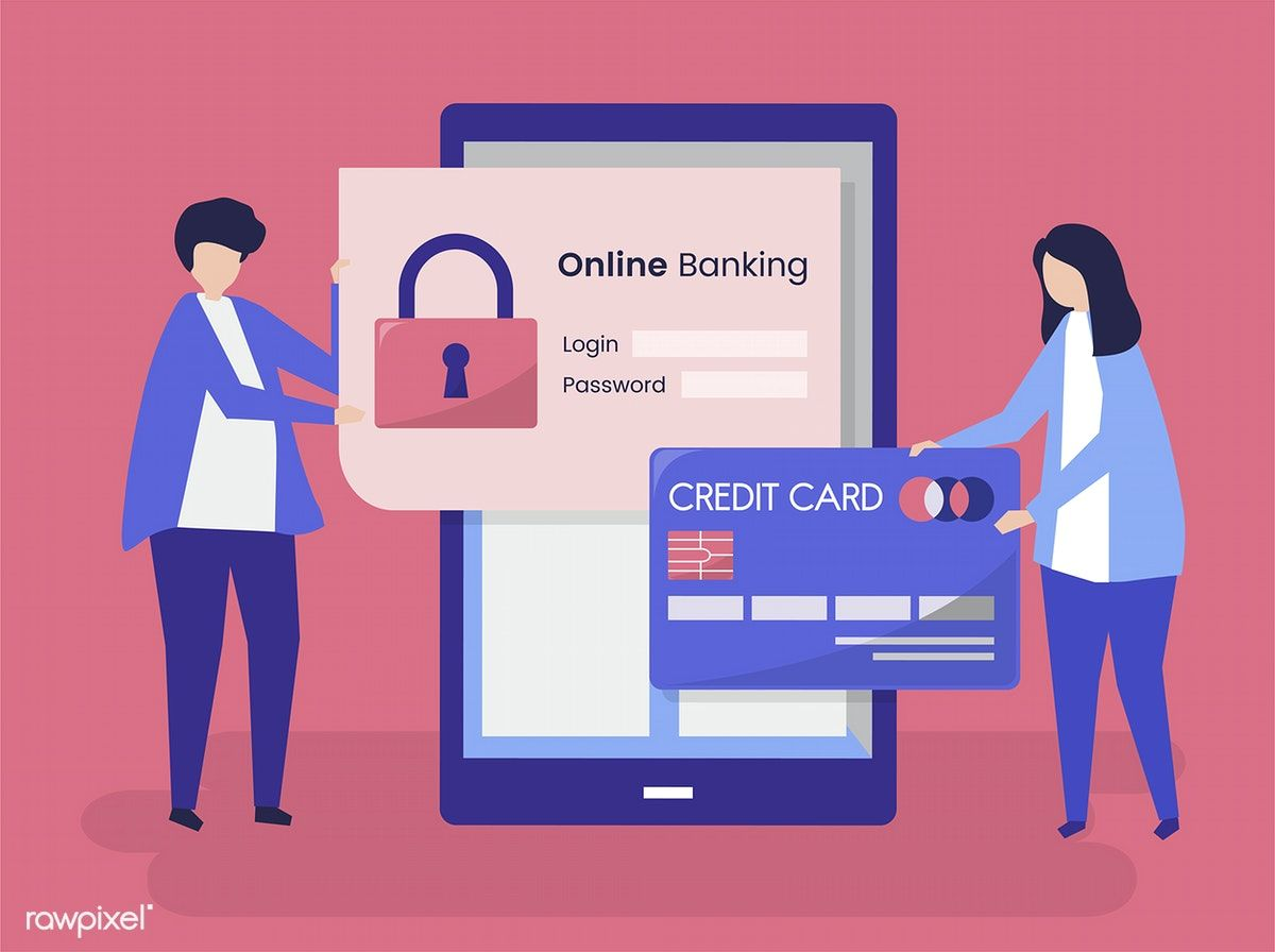 People Characters And Online Banking Security Concept Illustration Free Image By Rawpixel Com Online Banking Banking Credit Card Online