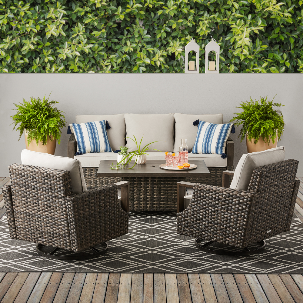 Free 2 Day Shipping Buy Better Homes Gardens Sandcrest Seagrass Outdoor Wicker 4 Piece Dining Set At Outdoor Wicker Adjustable Table Better Homes Gardens