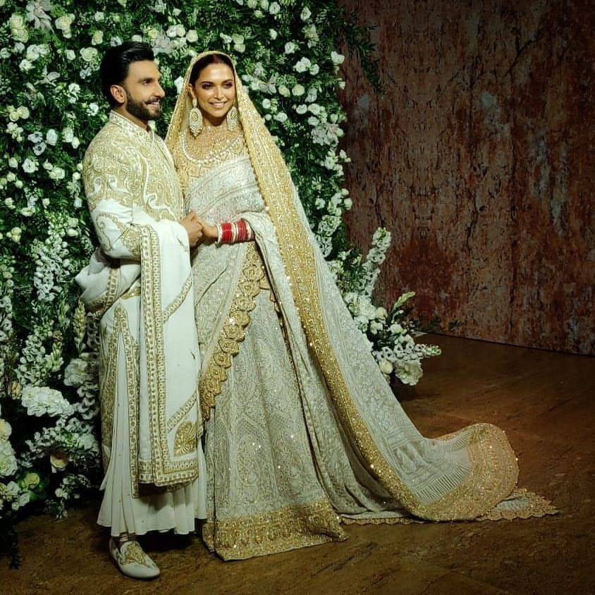 Deepika Padukone With Ranveer Singh Deepveerkishadi Deepveer Indian Reception Dress Reception Dress Bollywood Wedding