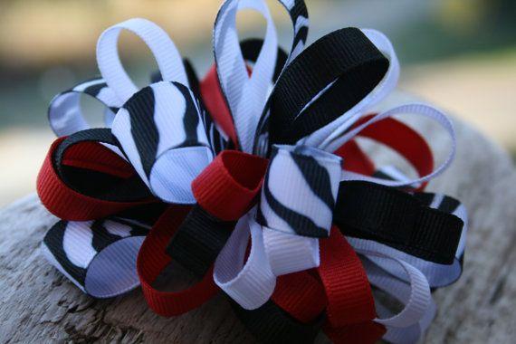 Zebra ribbon bow. Red black and zebra print by RockabillyBabyPlace, $4.00