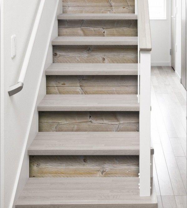 stickers contremarches imitation bois pour apporter une touche naturelle dans les escaliers. Black Bedroom Furniture Sets. Home Design Ideas