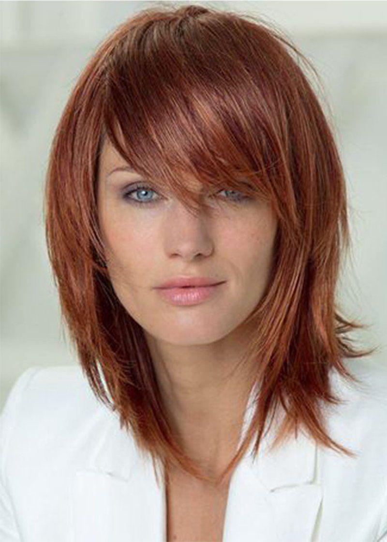 Natural Straight Women's Layered Hairstyle Medium Length ...