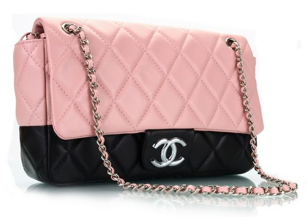 Chanel 3311 Classic Pink-Black Flap Bag - Click Image to Close