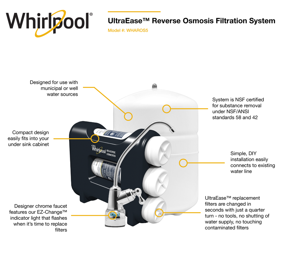 Whirlpool Premium Triple Stage Reverse Osmosis Filtration Under Sink Water Filtration System Lowes Com Water Filtration System Reverse Osmosis Osmosis