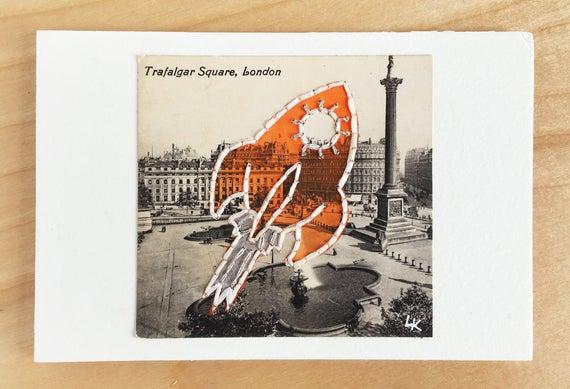 Space Art  Orange Rocket Ship  Embroidery Collage on Postcard RPPC  Alien Spaceship  London England
