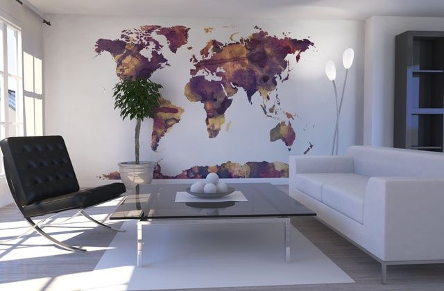 Watercolor world map purple fototapeter tapeter photowall watercolor world map purple fototapeter tapeter photowall gumiabroncs Choice Image