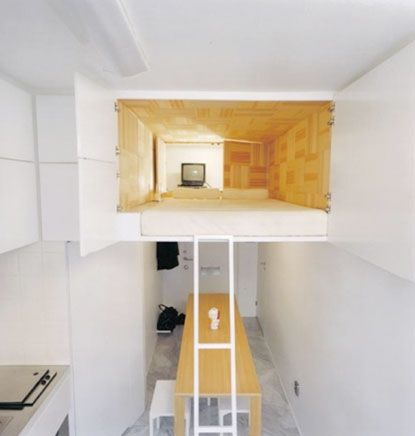 Cool Loft Rooms like how the bed takes up entire space. hidden shelving to side