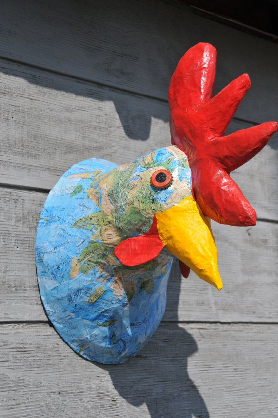 Faux Taxidermy Animal Head Rooster Wall Art Paper Mache Animal Head Faux Taxidermy--Rooster Sculpture Rooster Sculpture