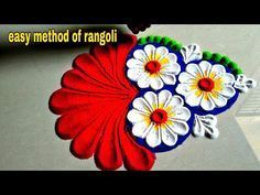 Beautiful and innovative flowers Rangoli using spoon/easy rangoli - YouTube #rangolidesignsdiwali Beautiful and innovative flowers Rangoli using spoon/easy rangoli - YouTube #rangolidesignsdiwali