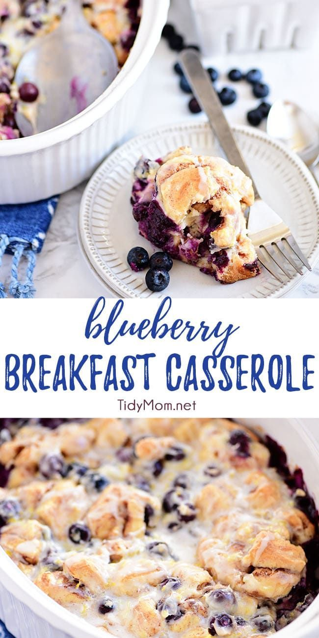 Blueberry Breakfast Casserole This Blueberry Breakfast Casserole is perfect for brunch, breakfast or dessert! With cinnamon rolls, cream cheese and loaded with juicy blueberries and fresh lemon zest it makes a beautiful presentation.  Print the full recipe at  via @tidymom
