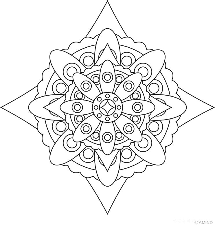 Fine Coloriage Mandal Ethnique Chardons Ornament - Framing Coloring ...
