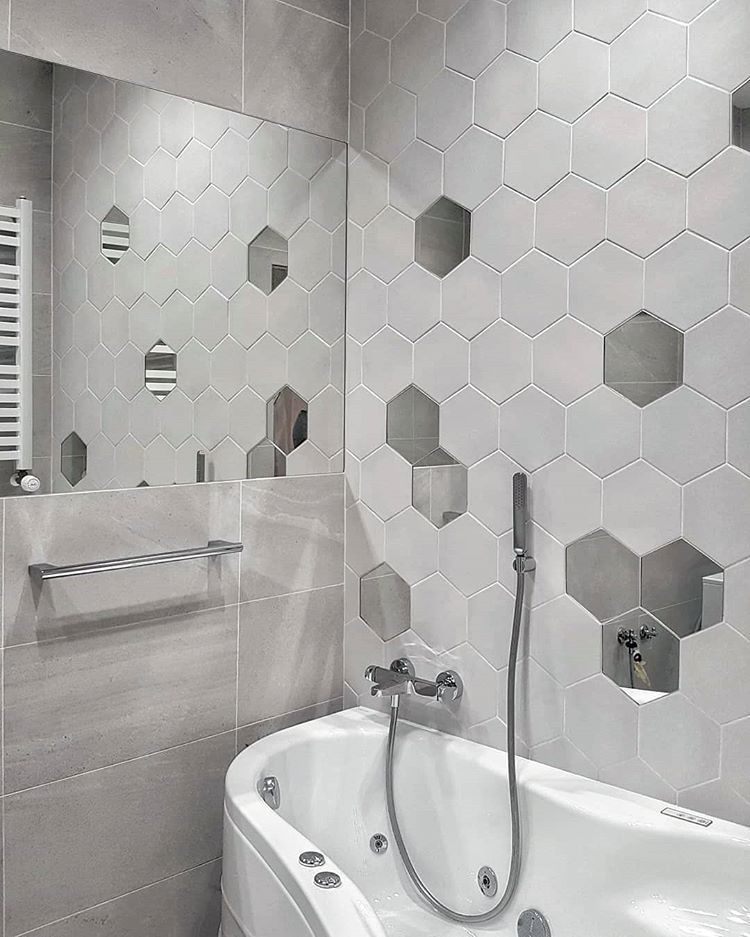 There Are Even Mirrored Hex Tiles That Could Become A Special Touch To A Bathroom Wall In 2020 Hexagon Tile Bathroom Tile Bathroom Bathroom Tile Designs