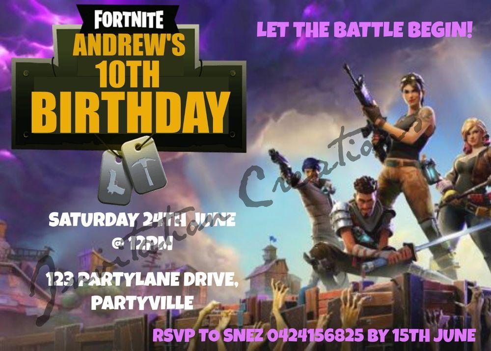 Diy Print Custom Girl Boy Fortnite Birthday Designs Party Invitations Fortnite Fortnitebattleroyale Live Try Not To Laugh Fortnite Girls Party Invitations