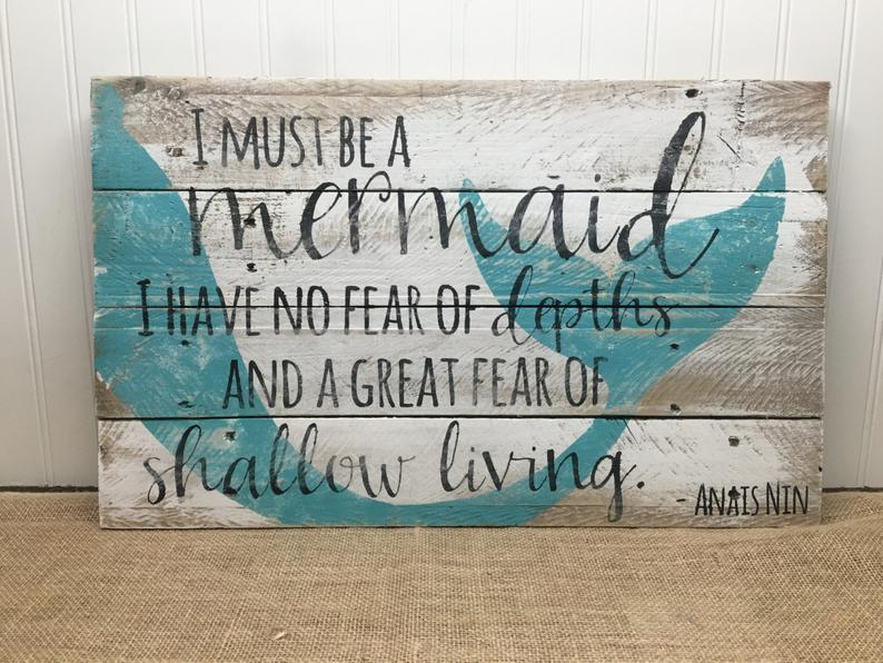 Rustic Pallet Wall Art - Mermaid Sign - Wood Sign - Gift for Her - Beach House Decor - Nautical Gift #mermaidsign