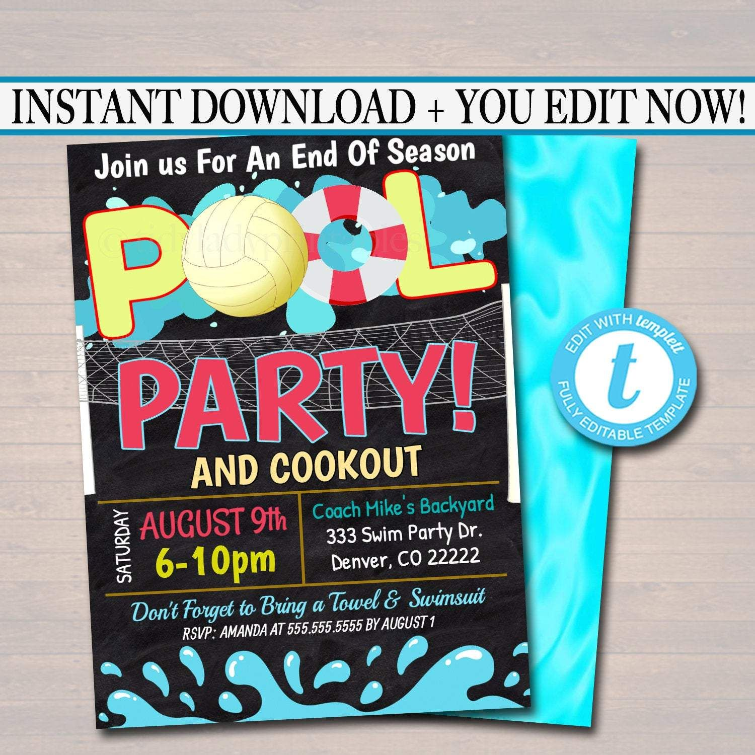 Summer Pool Volleyball Party Invitation - Printable DIY Template