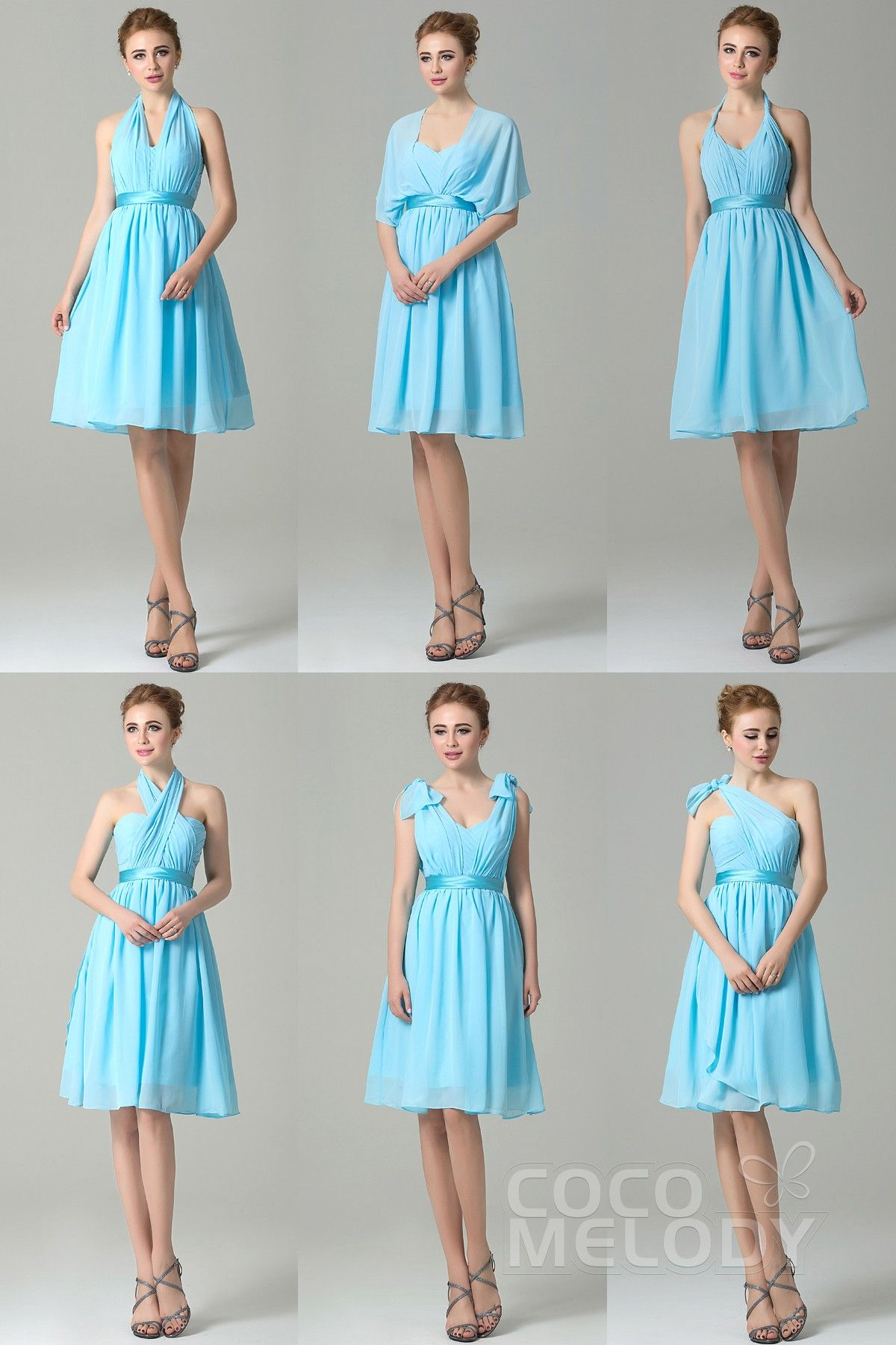 ca1e941b3c55 Classic A-Line Knee Length Chiffon Blue Convertible Bridesmaid Dress with  Ribbons and Draped Streamers COZM14050