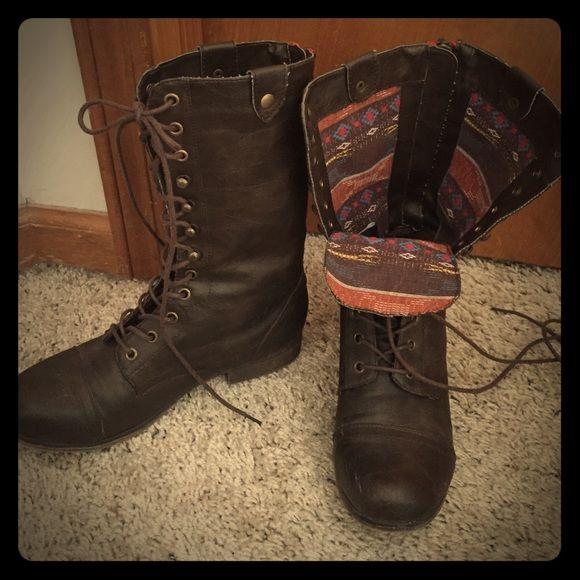 unos dias excepcional gama de colores código promocional Steve Madden combat boots Dark brown lace up Steve Madden combat ...
