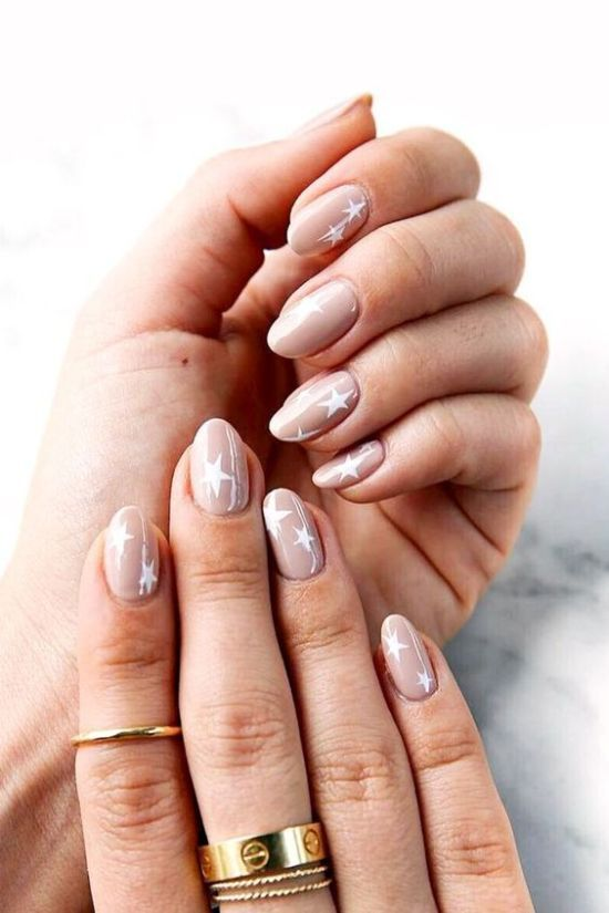 Neutral Blush Wedding Nails With Large White Stars Look Cute A Bit Imperfect And Neutral Nails