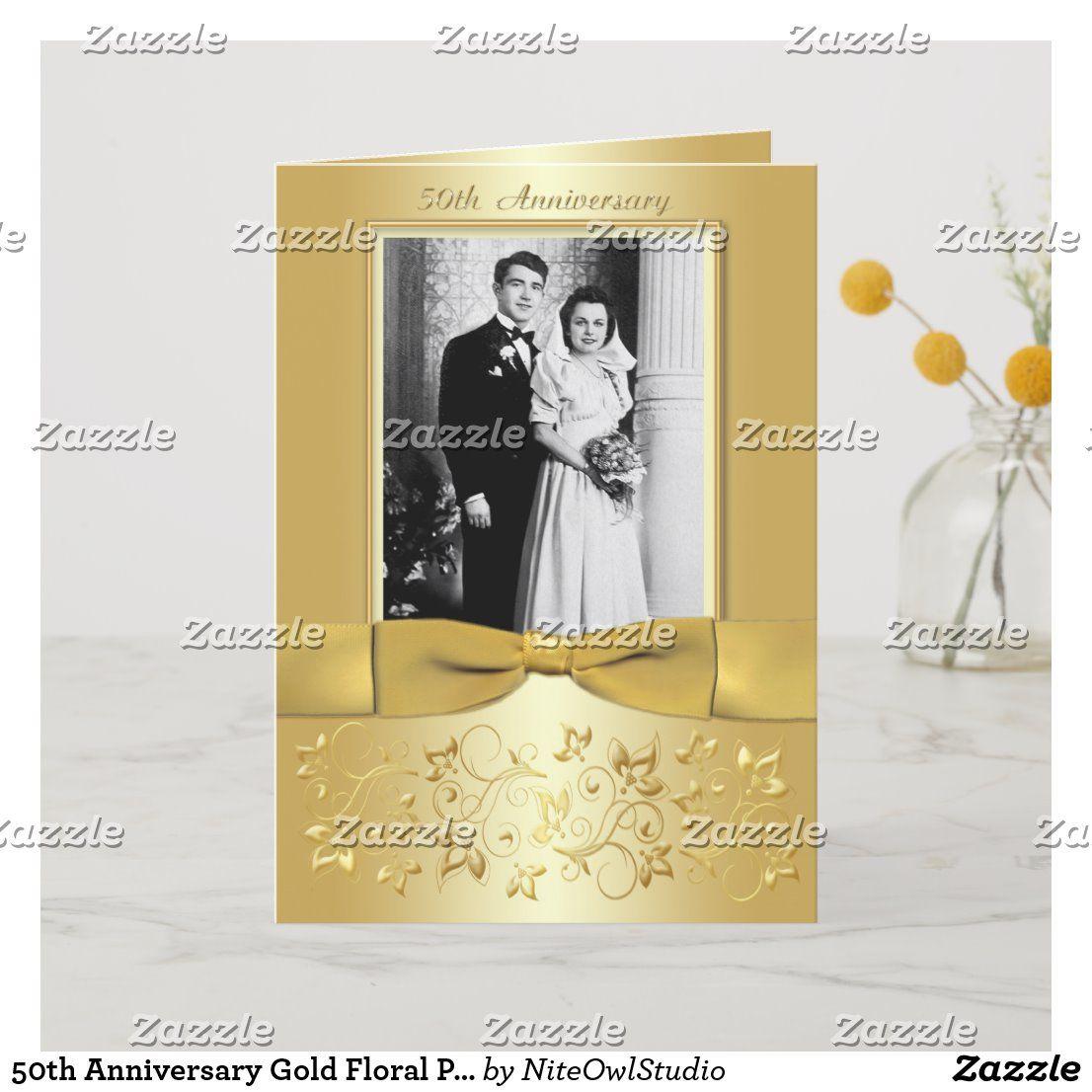 50th Anniversary Gold Floral Photo Invitation Card Zazzle Com 50th Anniversary Invitations 50th Wedding Anniversary Invitations Anniversary Invitations