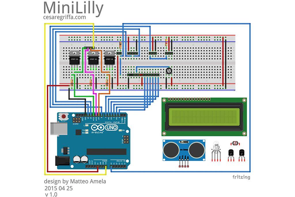 bram | minililly - fritzing: schema del circuito e cablaggio