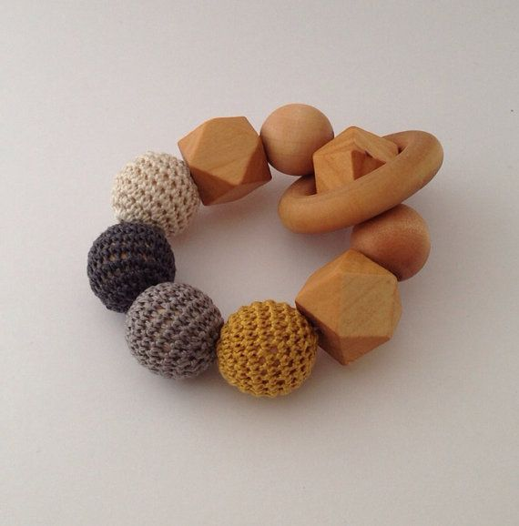 Crochet and Wood Teething Toy, Oh  Just Dandy