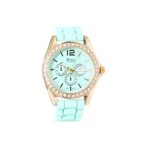 Rhinestone Pastel Silicone Watch ($20) ❤ liked on Polyvore