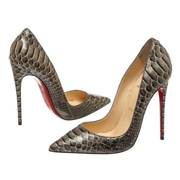 d424b1ef39d Pre-Owned Christian Louboutin Gray Snakeskin Pointed Toe Heel Pumps ...