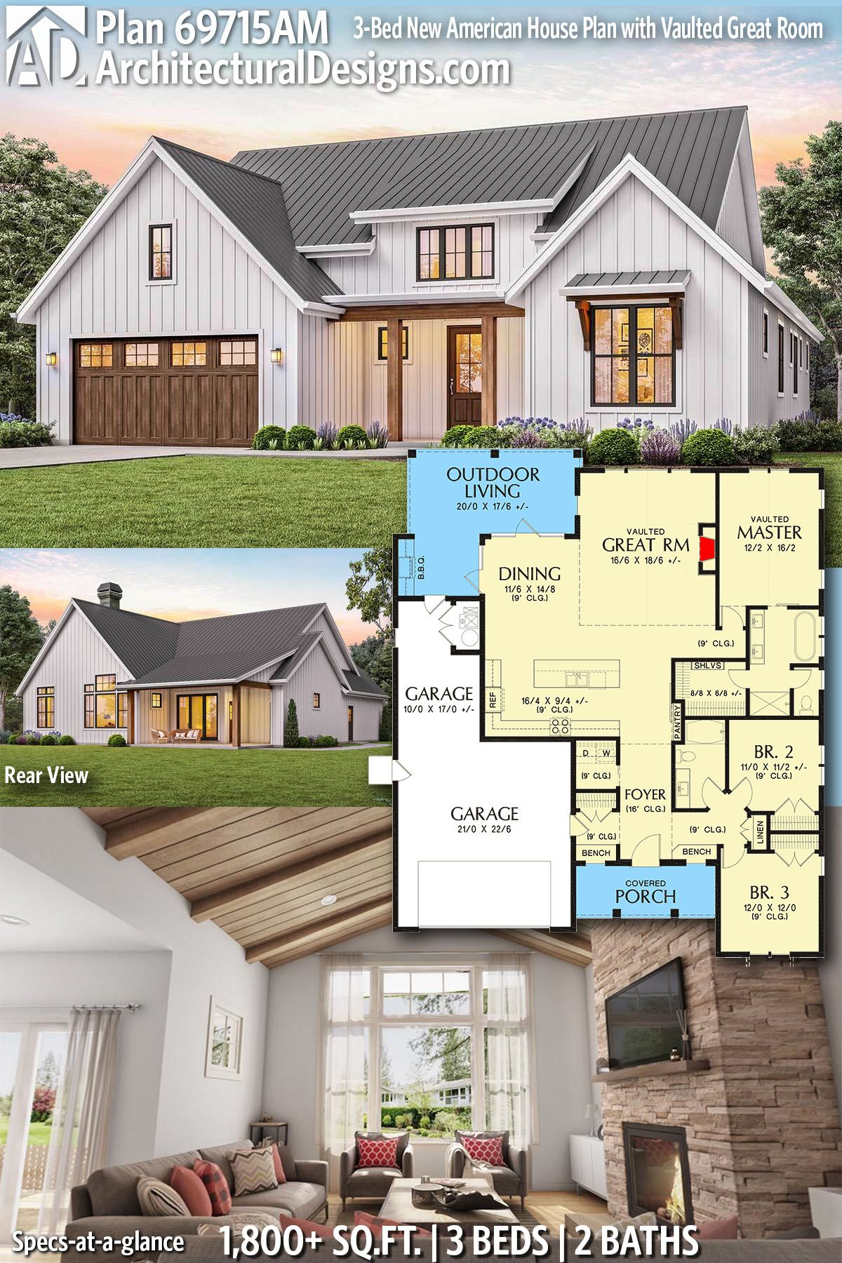 Plan 69715am 3 Bed New American House Plan With Vaulted Great Room American Houses New House Plans Dream House Plans