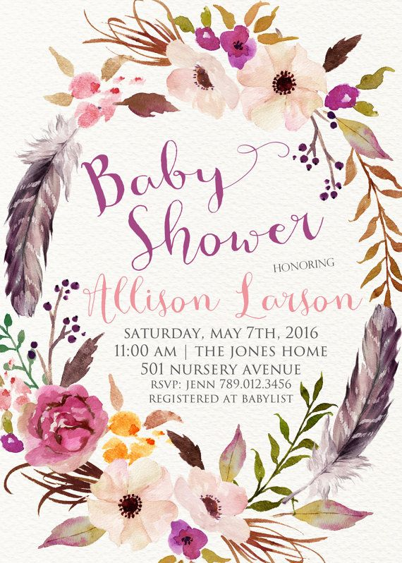 Winter Baby Shower Invitation Printable Boho Chic Feathers Floral Wreath Invite Gender Neutral Colors