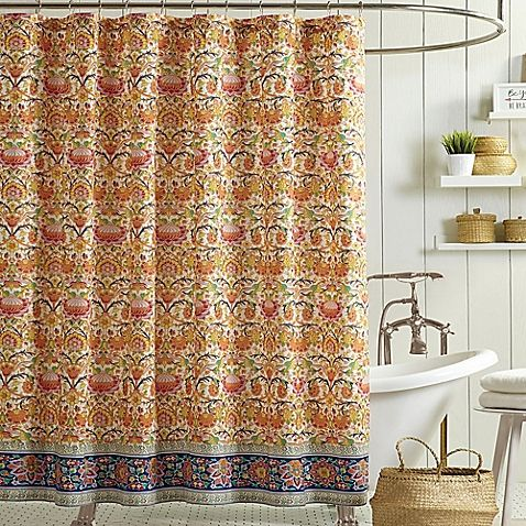 Jessica Simpson Provincial Shower Curtain In Orange With Images